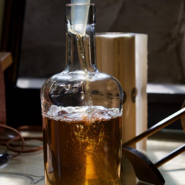 """Hand Bottling Single Malt Scotch Whisky"" stock image"