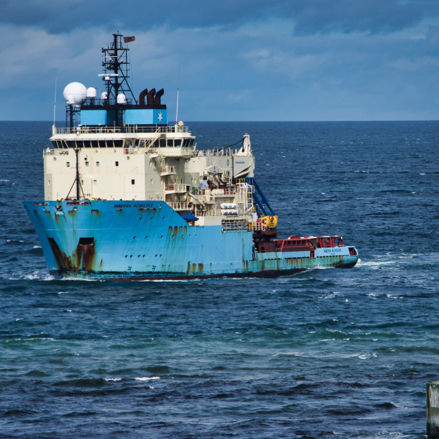 """""""Oil Supply vessel enters Aberdeen Harbour"""" stock image"""