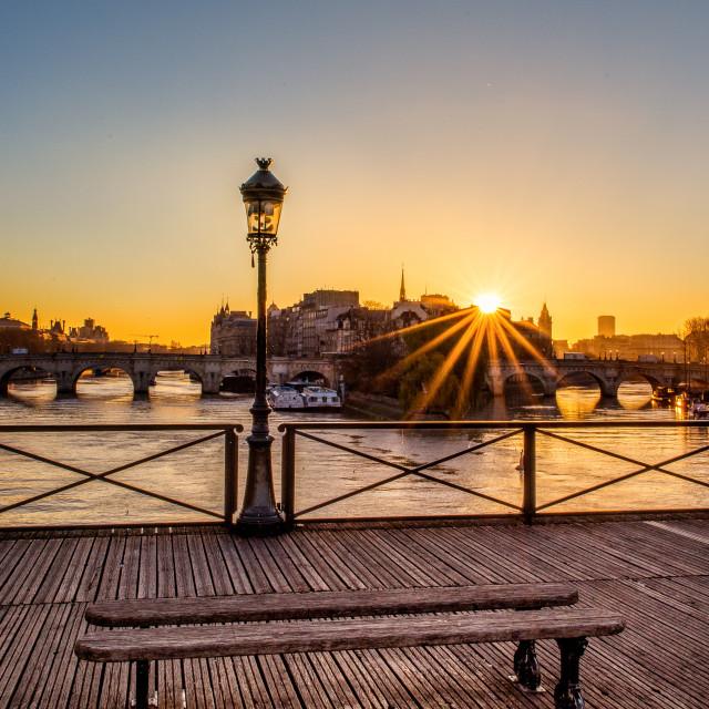 """""""The Pont des Arts at sunrise, Paris, France"""" stock image"""