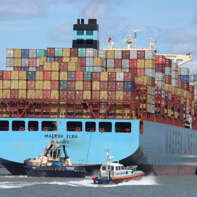 """""""Container ship at Felixstowe"""" stock image"""