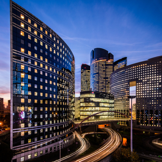 """La Defense Business District sunset"" stock image"