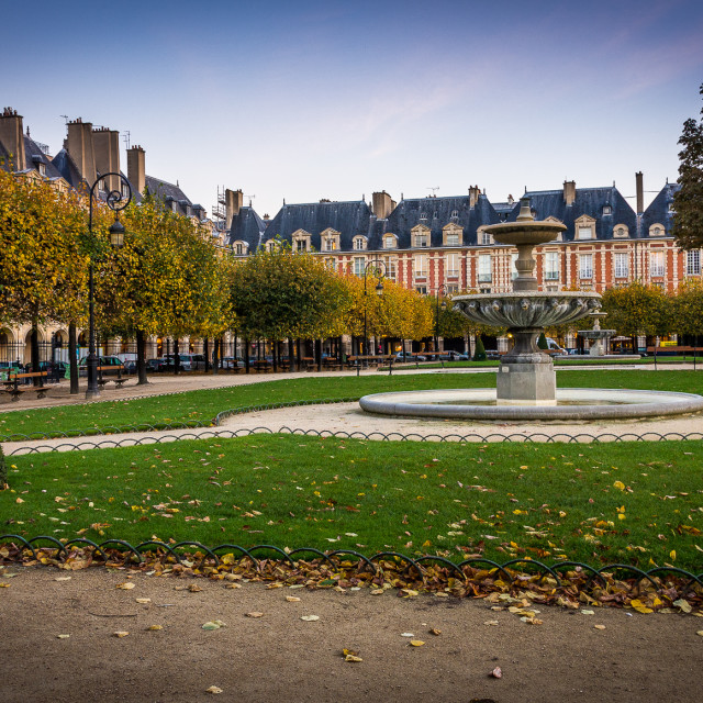 """""""Place des Vosges sunrise, Paris, France"""" stock image"""