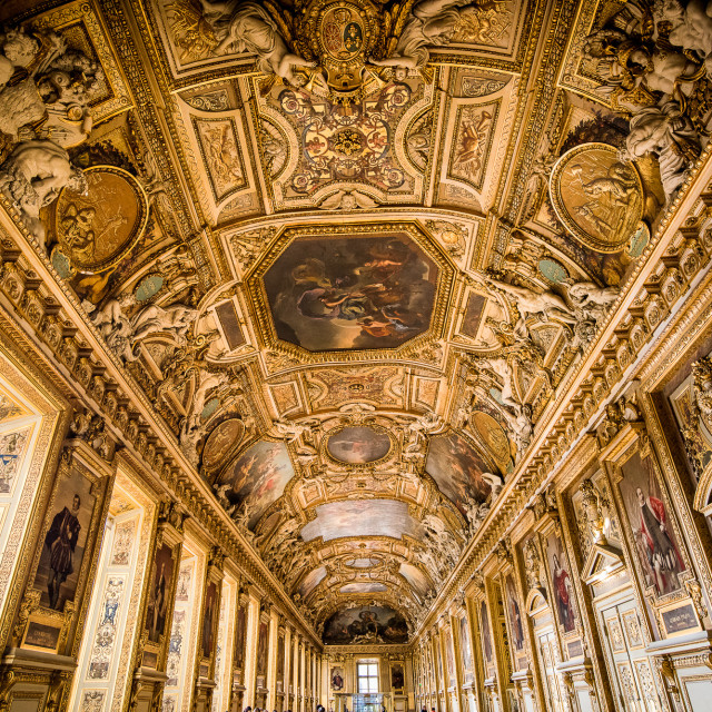"""""""The Louvre Museum - The Apollon Gallery"""" stock image"""