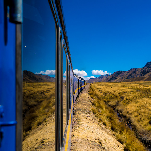 """Wonderful view from the train between Cusco and Puno, Peru"" stock image"