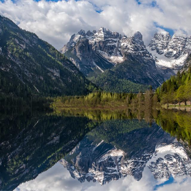 """""""Landro Lake, Dolomites, Italy"""" stock image"""