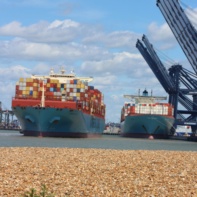 """""""Two big container ships"""" stock image"""