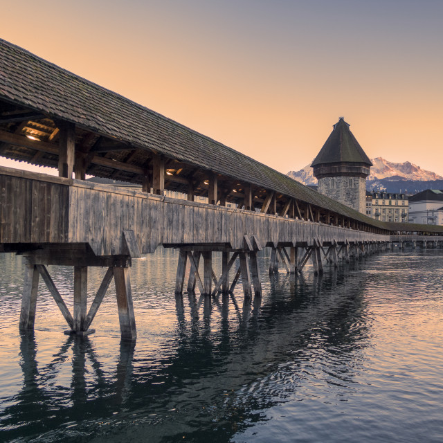 """Lucerne. Image of Lucerne, Switzerland during twilight blue hour"" stock image"