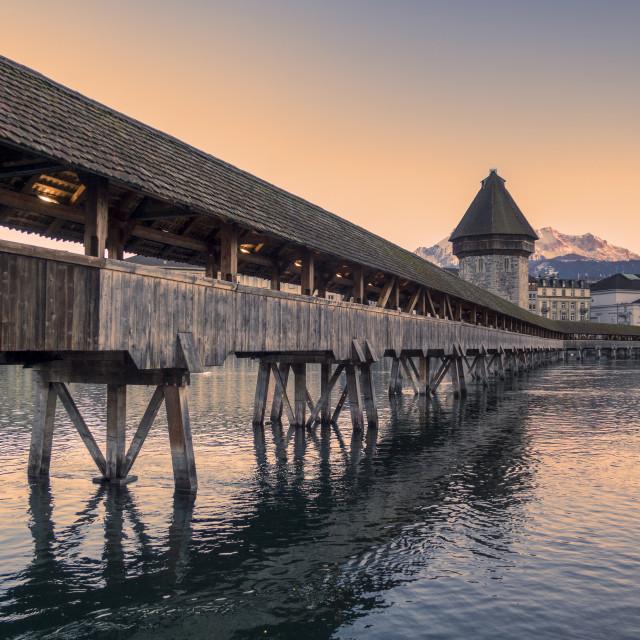 """Lucerne. Image of Lucerne, Switzerland during twilight blue hour"" stock image"