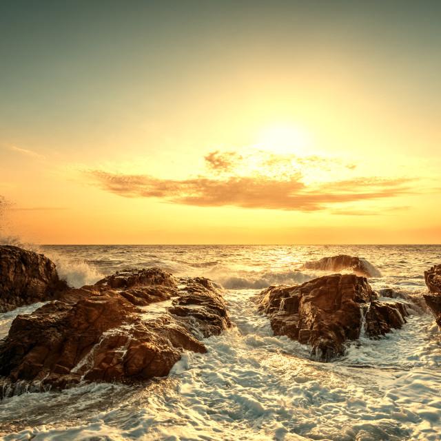 """""""Splashes of wave at sunrise"""" stock image"""