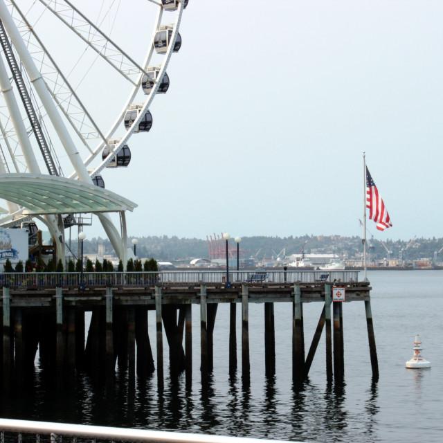 """Seattle Waterfront Ferris Wheel"" stock image"