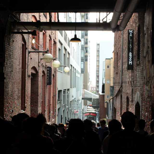 """""""Seattle Gum Wall Alley"""" stock image"""