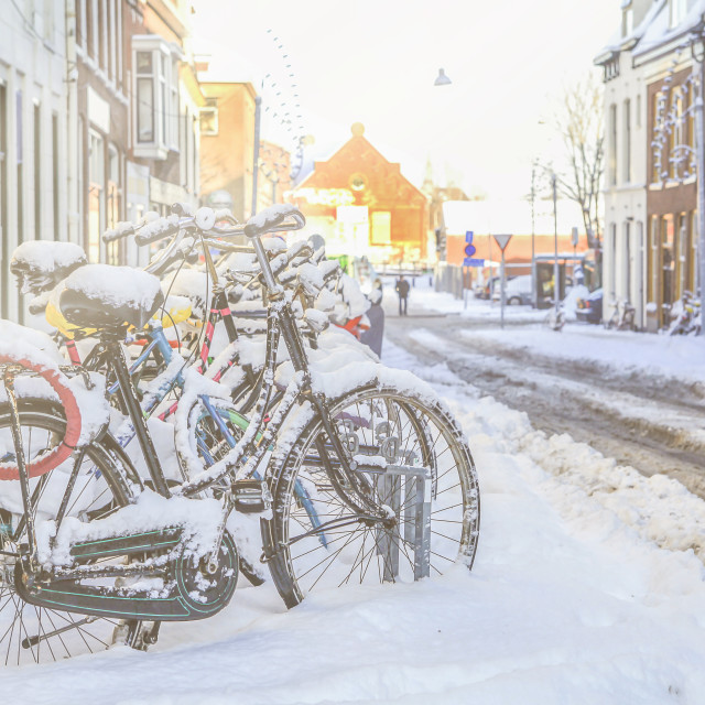"""Bikes in the snow"" stock image"