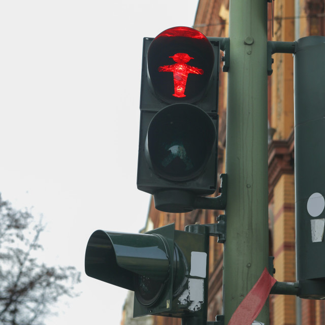 """Traffic light in Berln on red"" stock image"
