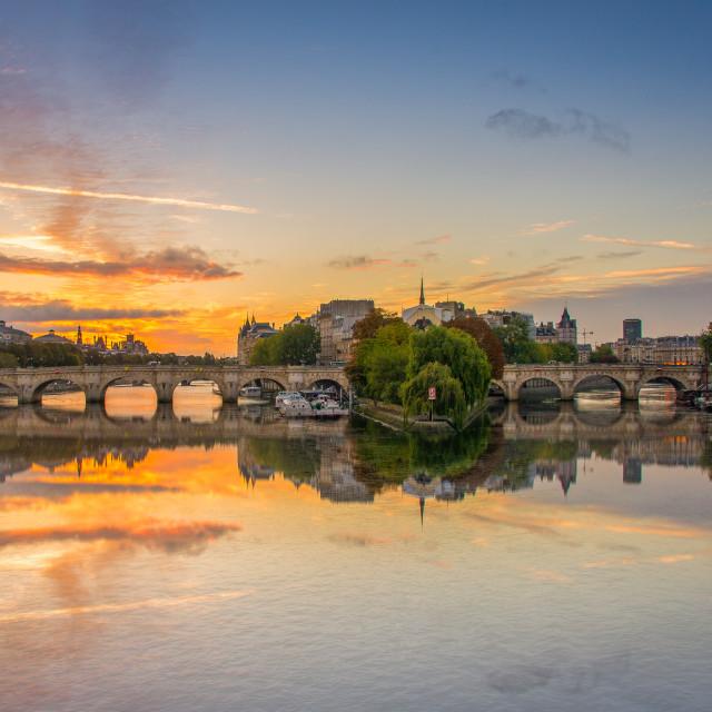 """""""Pont Neuf Sunrise, Paris, France"""" stock image"""