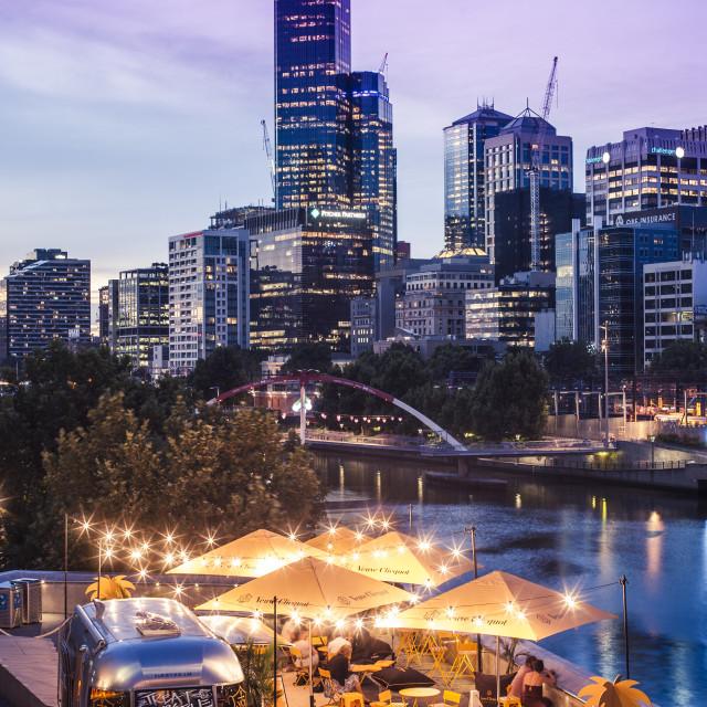 """Veuve Cliquot Airstream Bar on Southbank, Melbourne, Australia"" stock image"