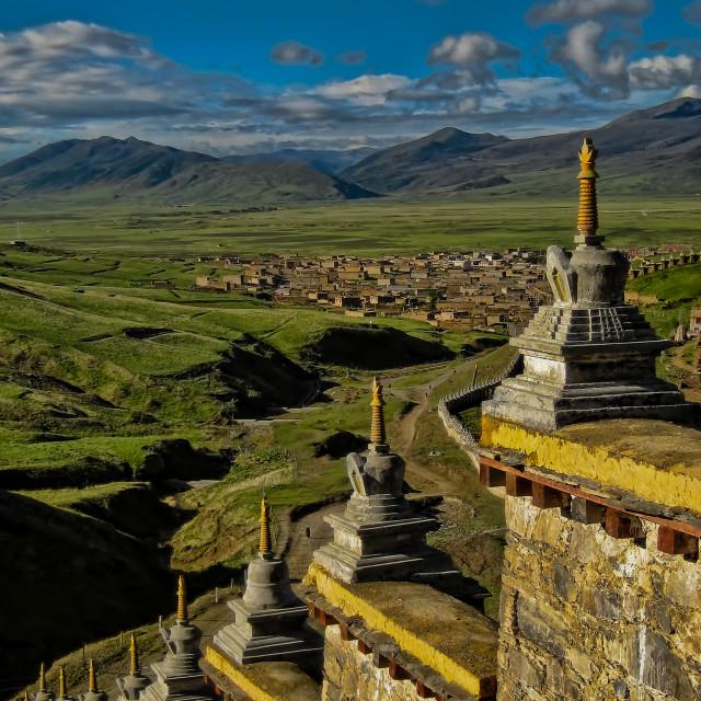 """Temple Wall Stupas of Litang Sichuan China"" stock image"