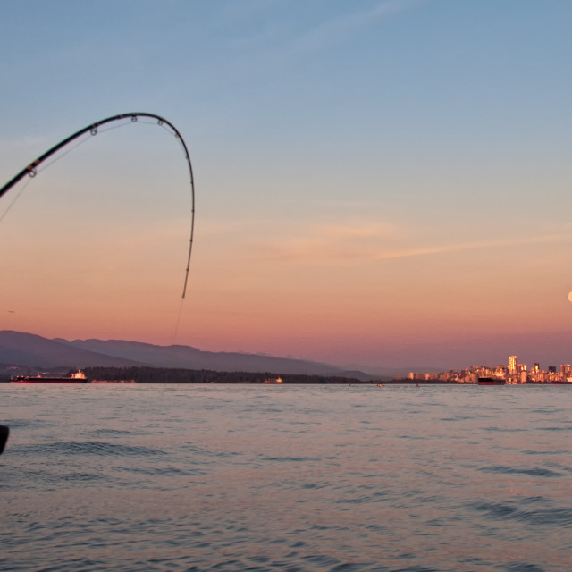 """Trolling Fishing Rod With City in Distance"" stock image"