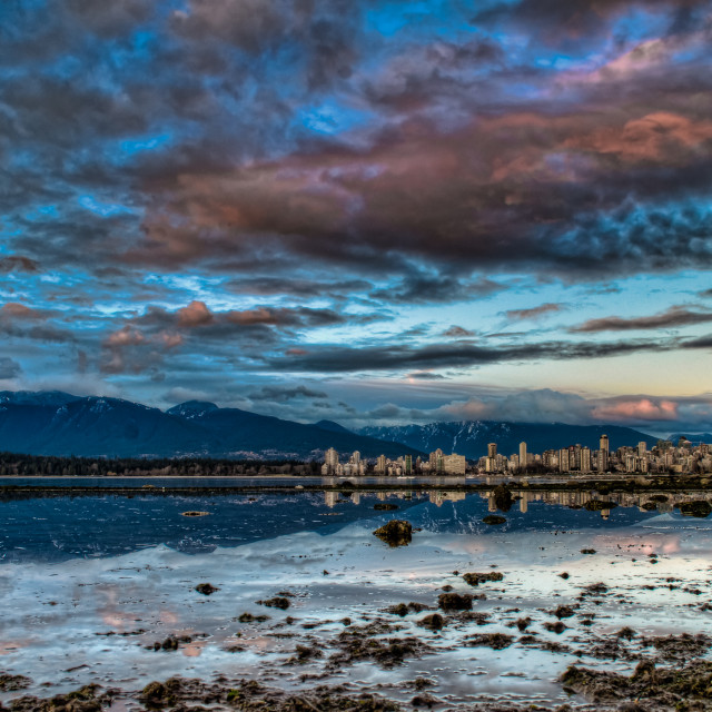 """Vancouver Skyline With Dramatic Blue Sky"" stock image"