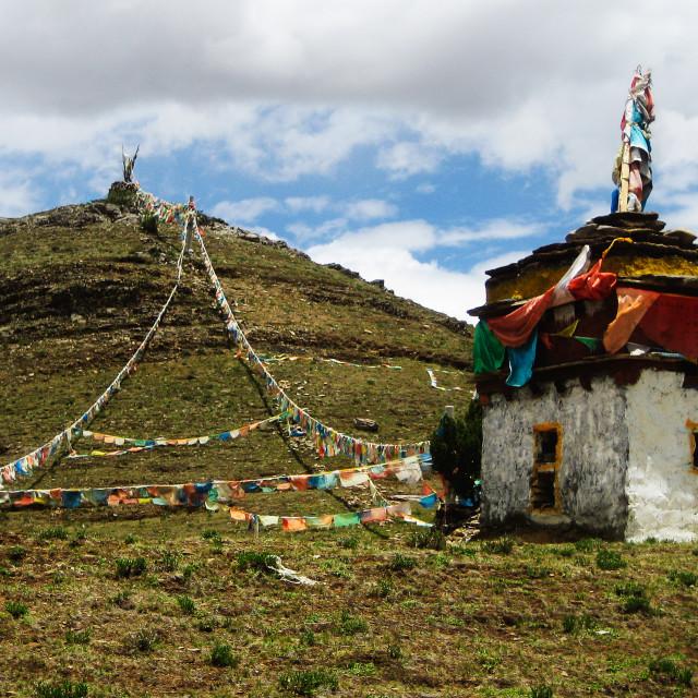 """Tibetan Stupa At Hill Top With Prayer Flags"" stock image"
