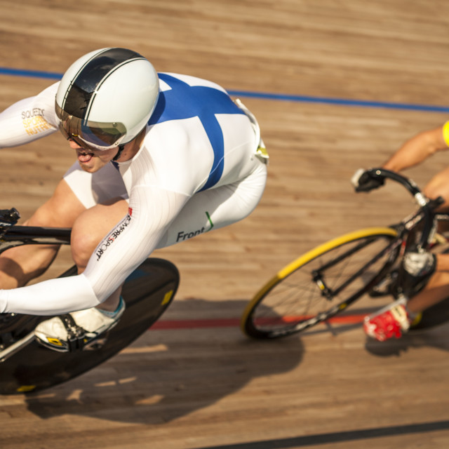 """Sprinting at the Barcelona Velodrome"" stock image"