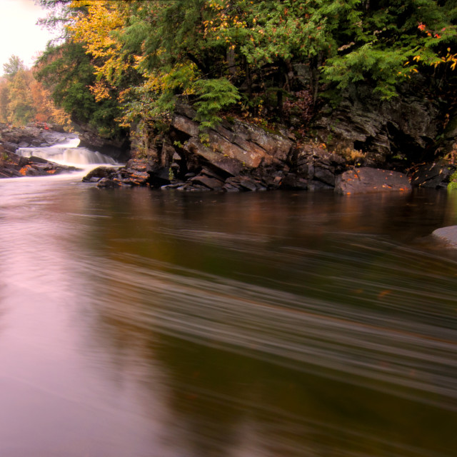 """""""Flowing River With Fall Colors"""" stock image"""