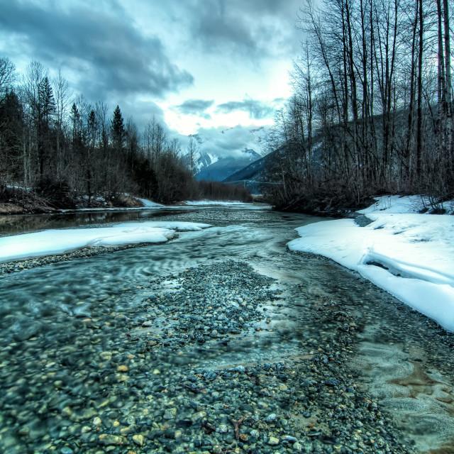 """Cool Toned Sunset Landscape Creek"" stock image"