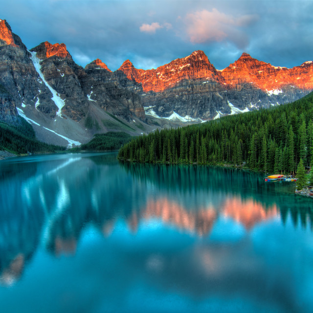 """Moraine Lake Sunrise Colorful Landscape"" stock image"