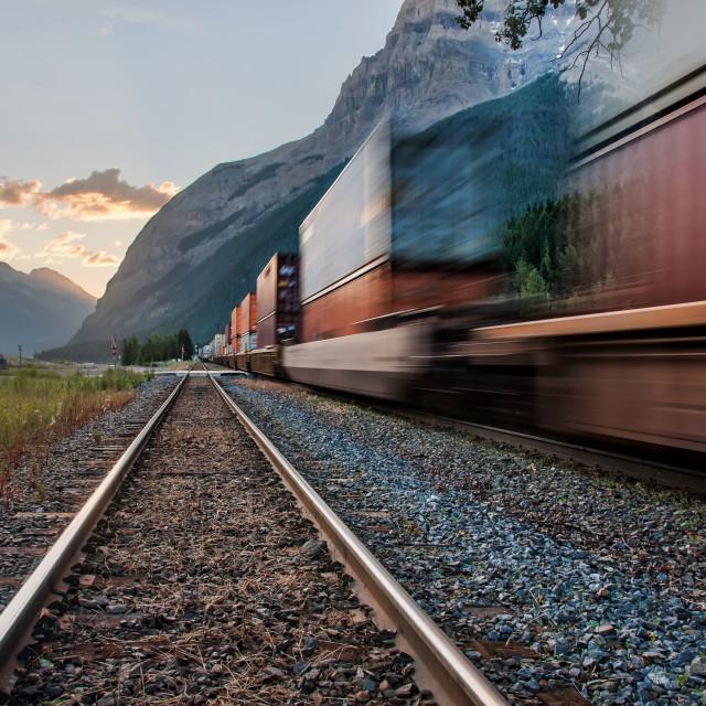 """Train in Yoho National Park Near Kicking Pass"" stock image"