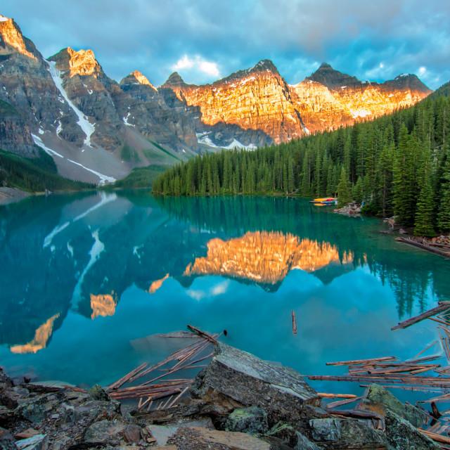 """Moraine Lake Yellow Mountain Landscape"" stock image"