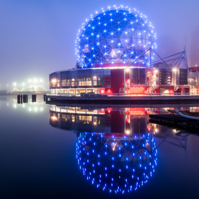 """Science World Reflection in Vancouver at Night"" stock image"