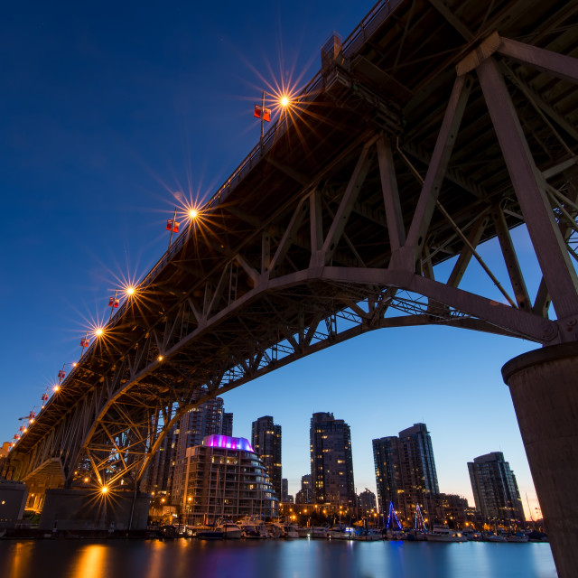 """Granville Island Bridge on a Clear Night"" stock image"