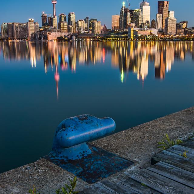 """Toronto Skyline from Polson Street Pier"" stock image"