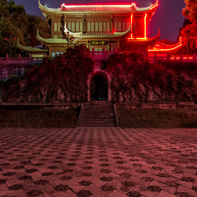 """Traditional Chinese Building at Night with Red Lights"" stock image"