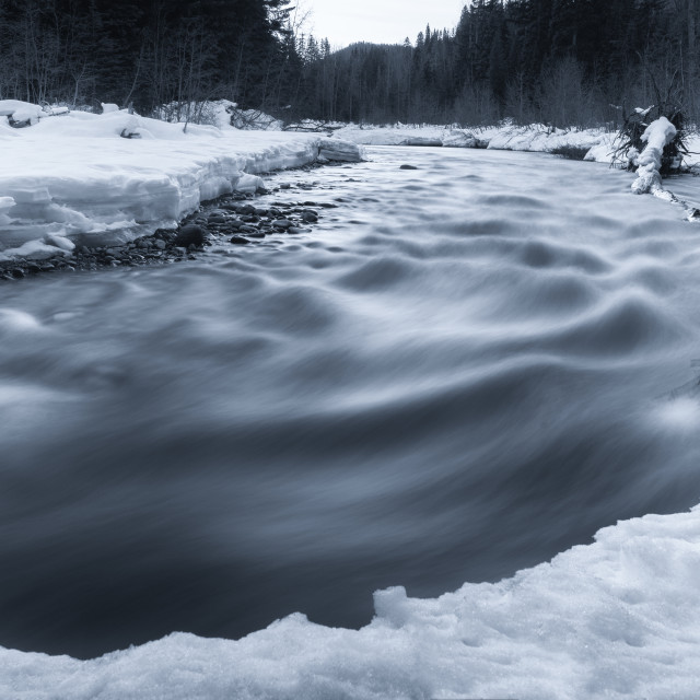 """Flowing River in Winter with Snow"" stock image"