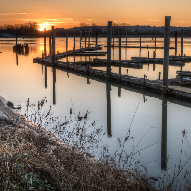 """River Dock at Sunset"" stock image"