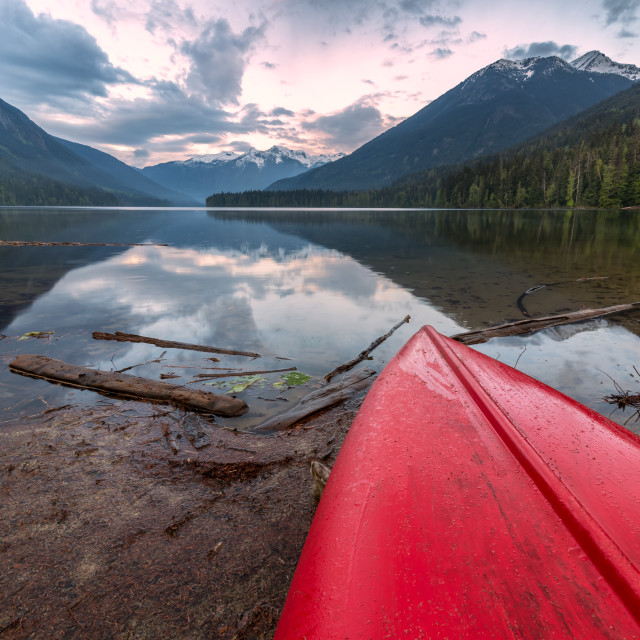 """Lake view with canoe top in foreground"" stock image"