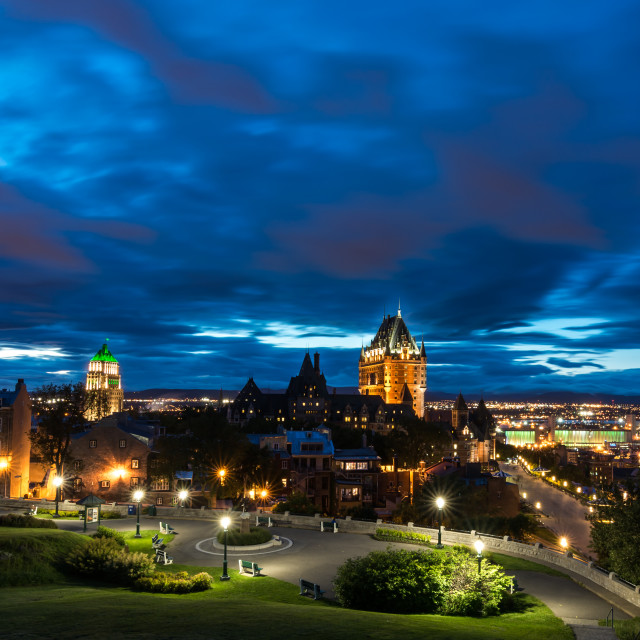 """Old Quebec City at Night with Chateau Frontenac"" stock image"