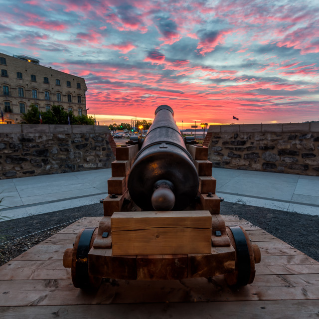 """Historic Cannon At Sunrise in Old Quebec City"" stock image"