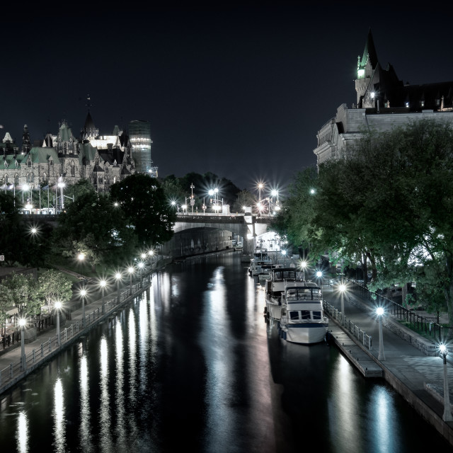 """Rideau Canal and Canadian Parliament buildings at night"" stock image"