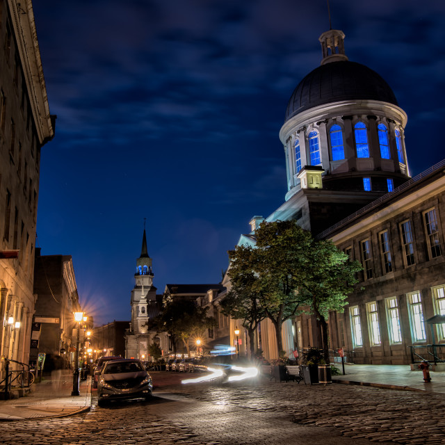 """Bonsecours Market in Old Montreal at Night"" stock image"