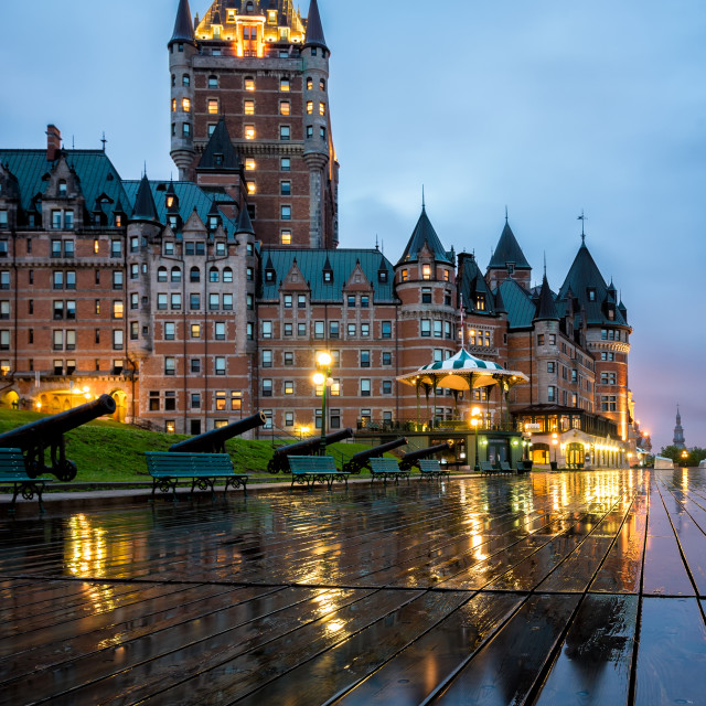 """Vibrant Chateau Frontenac at dawn"" stock image"