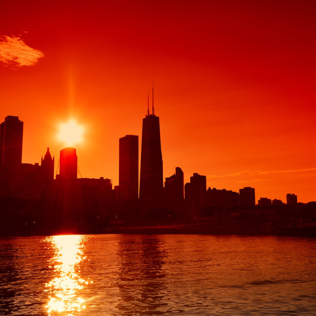 """Chicago at sunset skyline, US."" stock image"