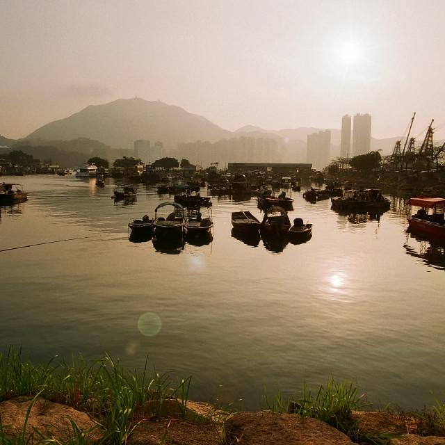 """""""Sam Ka Tsuen Typhoon Shelter, Hong Kong"""" stock image"""