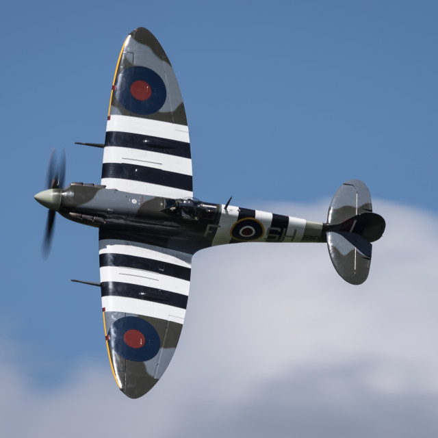 """Spitfire in the Sun"" stock image"