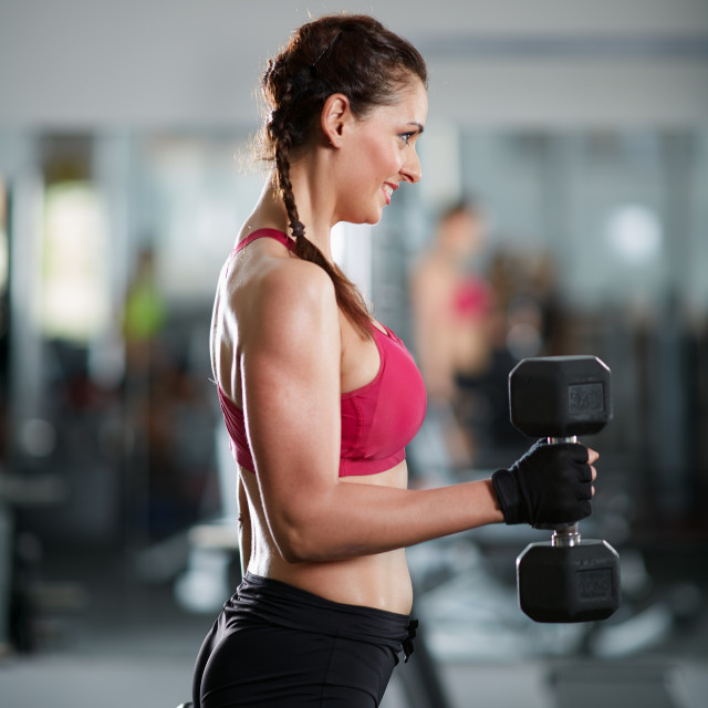 """""""Biceps curl training lady"""" stock image"""