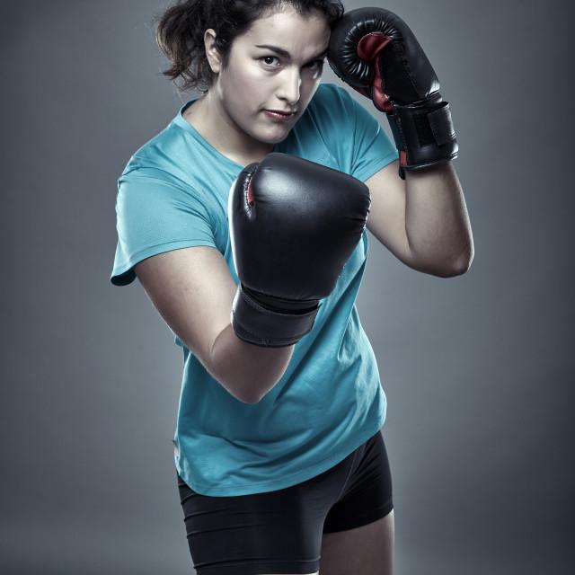 """Hispanic woman boxer"" stock image"