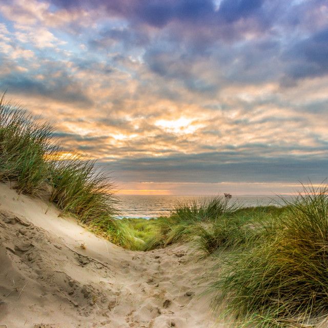 """Sundown at Llangennith Beach"" stock image"