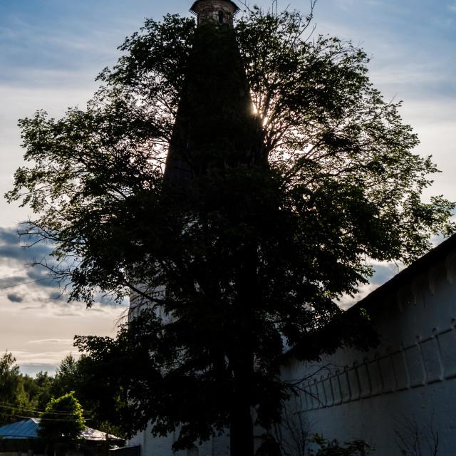 """Corner towers of the Iosifo-Volotsky monastery"" stock image"