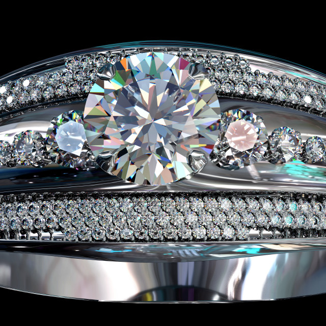 """""""Silver engagement band with diamond gem."""" stock image"""