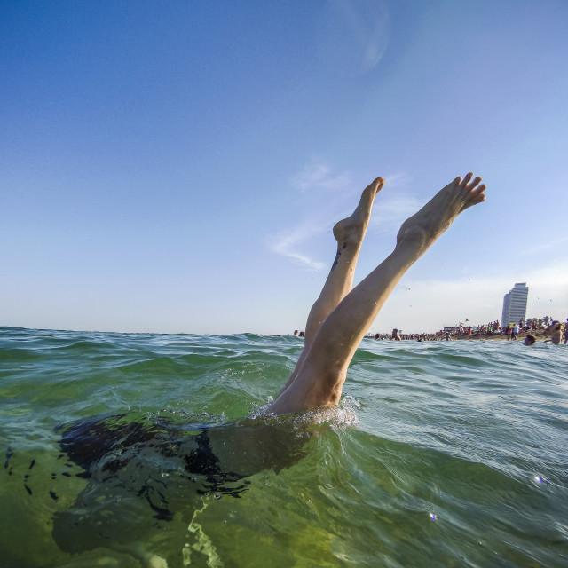 """""""Handstands in the Mediterranean Sea"""" stock image"""